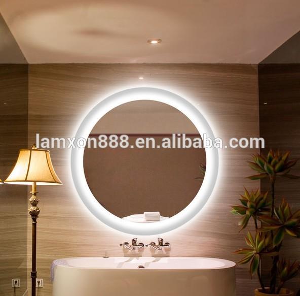 marco redondo espejo con luz led para bao