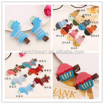 Handmade Girl Crochet Flower Hair Clipkids Pretty Hair Clip Cb