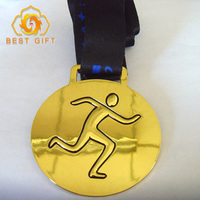 Promotion cheap high quality custom zinc alloy Metal Marathon Running football sports Gold Sports Medal