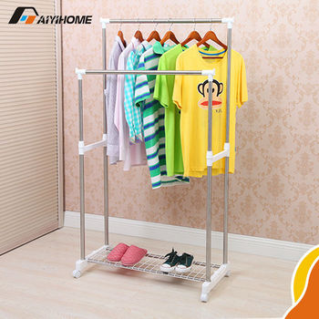 Removable Stainless Steel Double Pipe Closet Rod