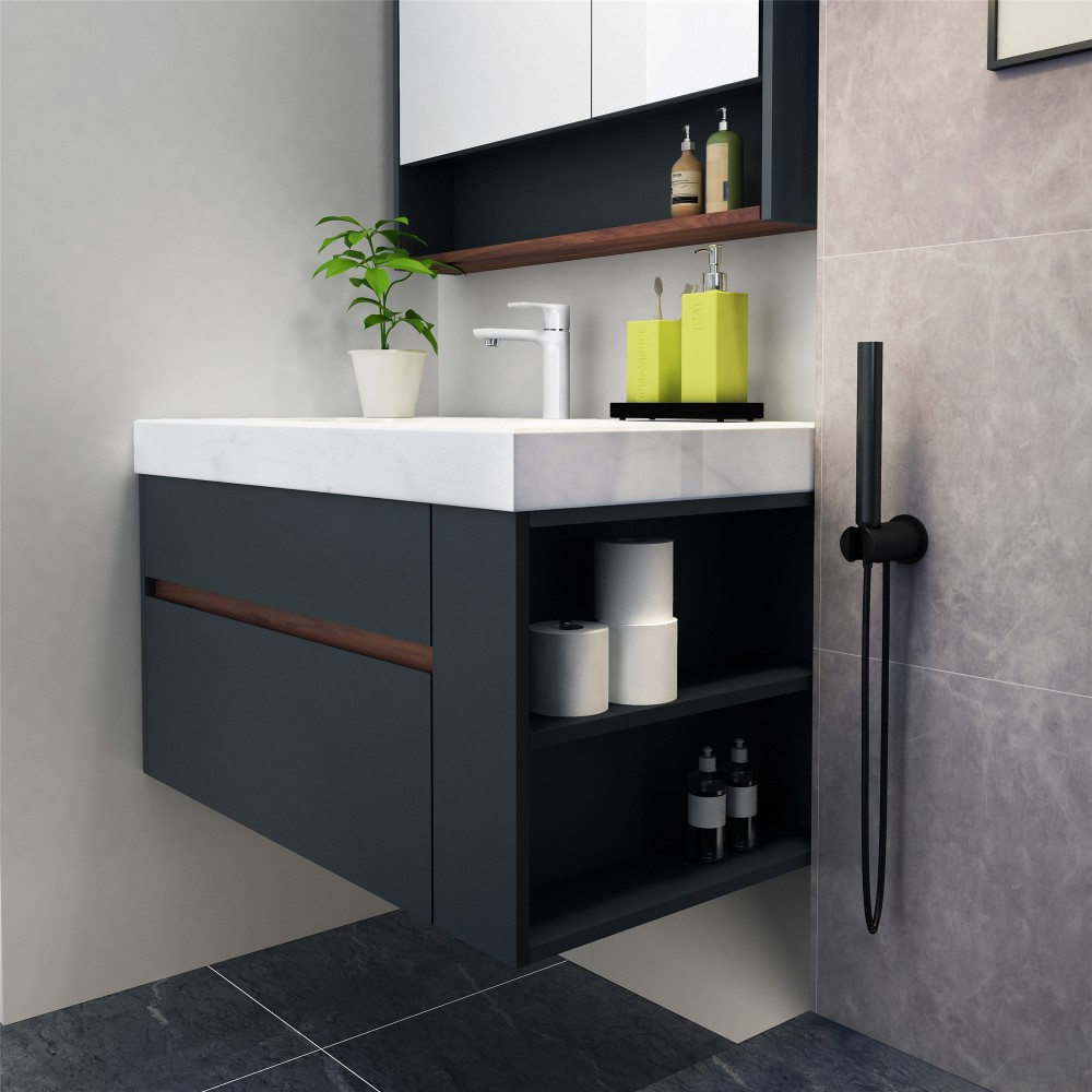 hotel wooden hanging solid surface bathroom cabinets with