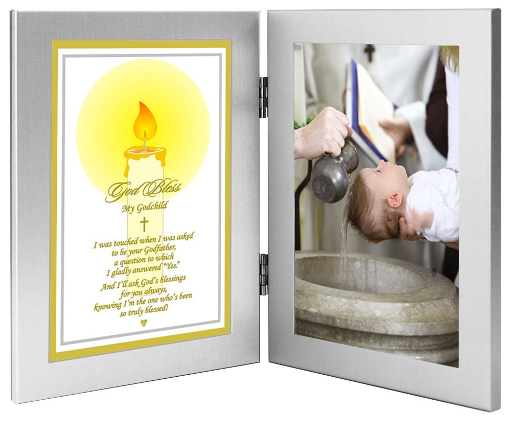 godchild baptism or christmas gift from godfather add photo to double frame