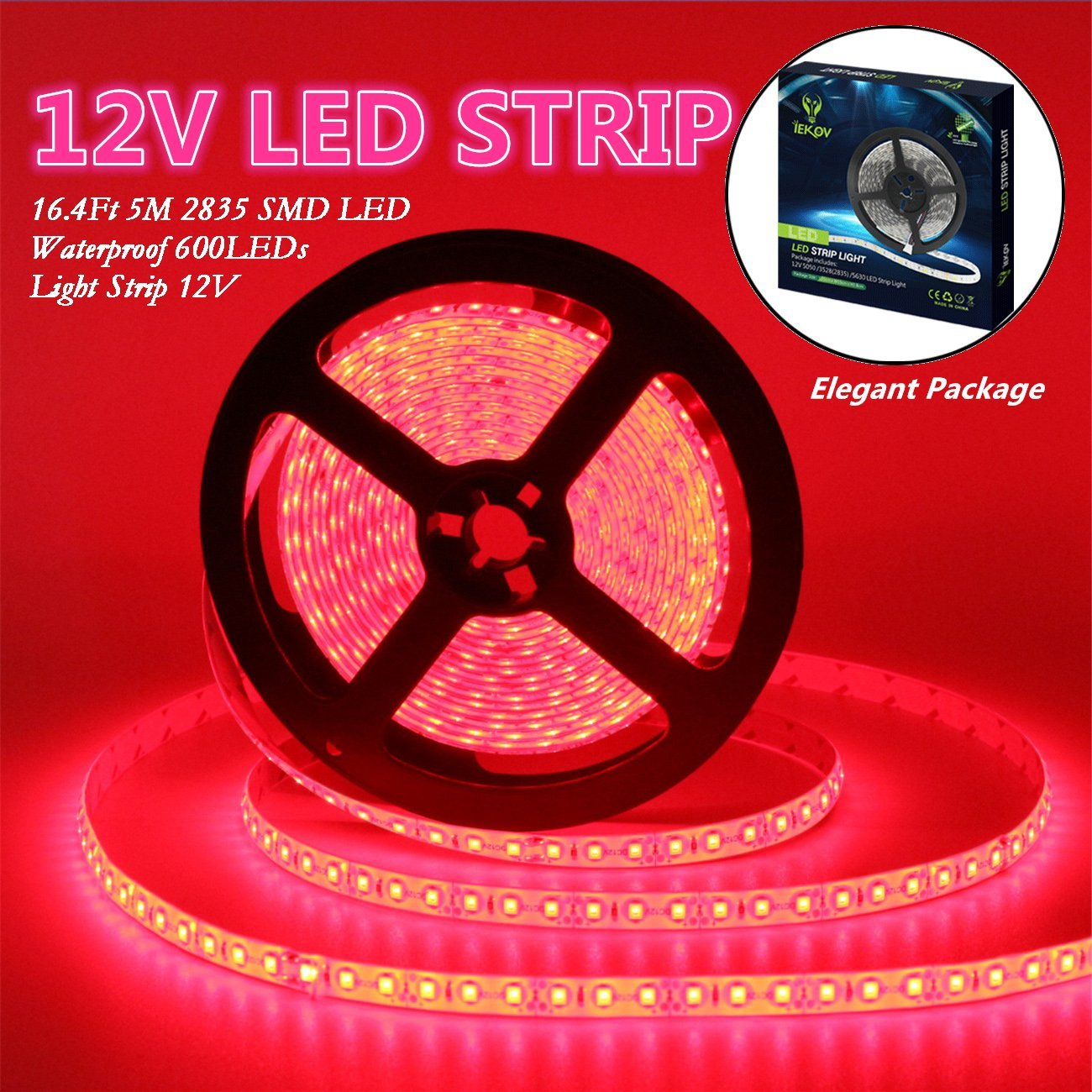 Led Strip Lights, IEKOV™ 2835 SMD 600LEDs Waterproof Flexible Xmas Decorative Lighting Strips, LED Tape, 5M 16.4Ft DC12V, 3 times brightness than SMD 3528 LED Light Strip (Red)