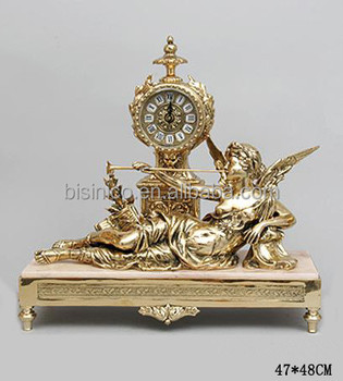 Wonderful Antique Gold Decorative Desk Clock With Brass Figurine, European Style Home  Decor Bronze Table Clock