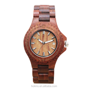 Water resistant Red sandal wood watch high quality