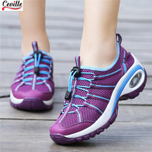 2019 Fashion Women Platform Shoes Sport Outdoor Sneakers Casual Shoes Mesh Breathable Fabric Shoes