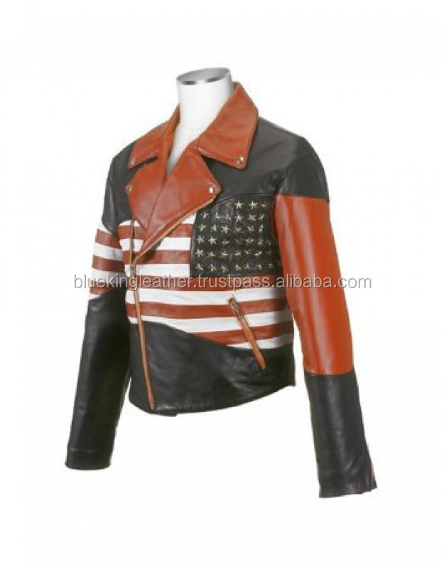Men's patriotic American flag Biker Genuine Leather Jacket