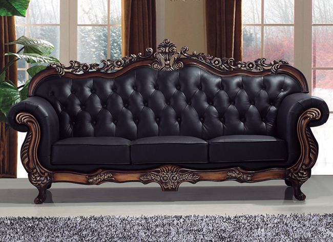 Stuning Gilt Frame Crystal Studded Real Leather Sofa Set