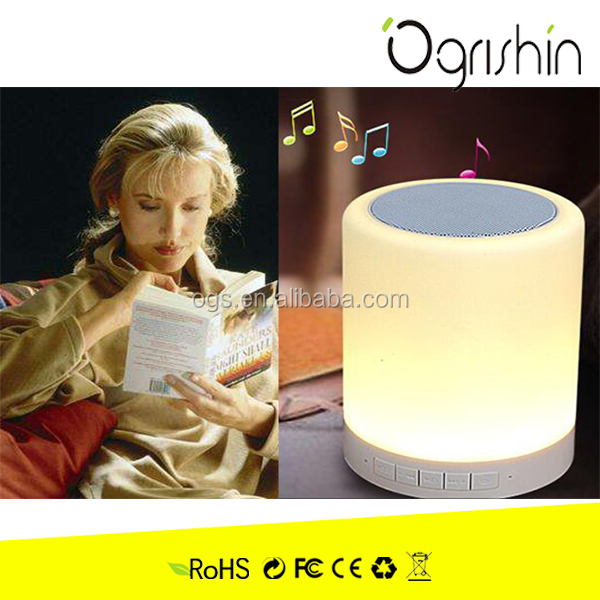 OgrishTouch Control Table Lamp with Bluetooth Speaker Bluetooth Speaker LED Light Bedside Lamp Reading Lamp Warm White