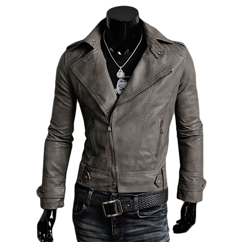 Winter Jacket Men 2015 PU Leather Jackets And Coats Casual Motorcycle Jacket Men Slim Fit Black Khaki Red Jackets M-XXL MJ04