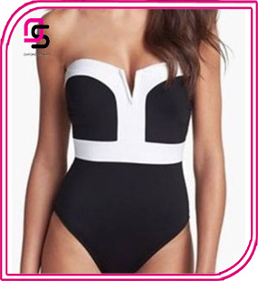2017 Black And White High-waisted One-Piece Deep V Fashion Hot Selling Bikini Swimsuit