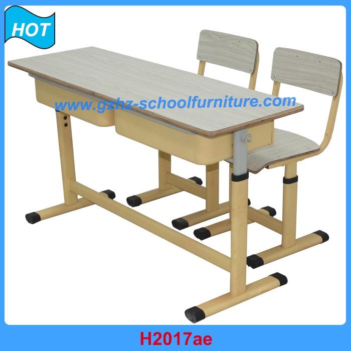 Metal escuela Aula mobiliario altura ajustable doble asiento mesa y ...