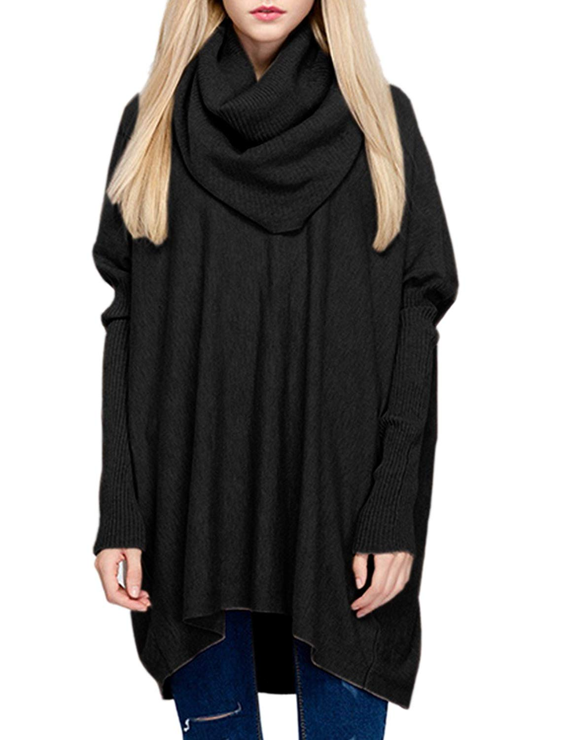 Sexyshine Women's Cowl Neck Loose Oversized Knit Wool Pullover Sweaters