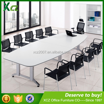 Modern Design Conference Table, Metal Wood Meeting Table With Power