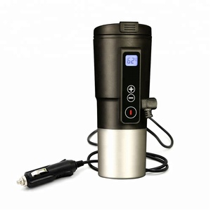Temperature Control Travel Tumbler-Redsalmon Auto12V Smart Electric Heated coffee mug with LCD display 410ML/Black
