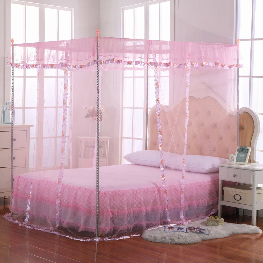 JQWUPUP Mosquito Net for bed - 4 Corner Canopy for Beds, Canopy Bed Curtains, Bed Canopy For Girls Kids Toddlers Crib, Anti-Mosquito Bedroom Decor (King Size, Pink)