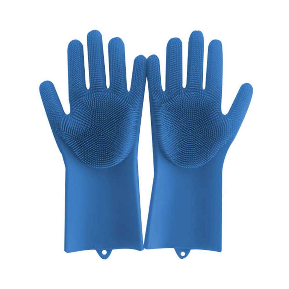 "Unpara Magic Saksak Reusable Silicone Gloves Cleaning Brush Wash Scrubber 14"", Heat Resistant, for Cleaning, Household, Dish Washing, Washing the Car (Blue)"