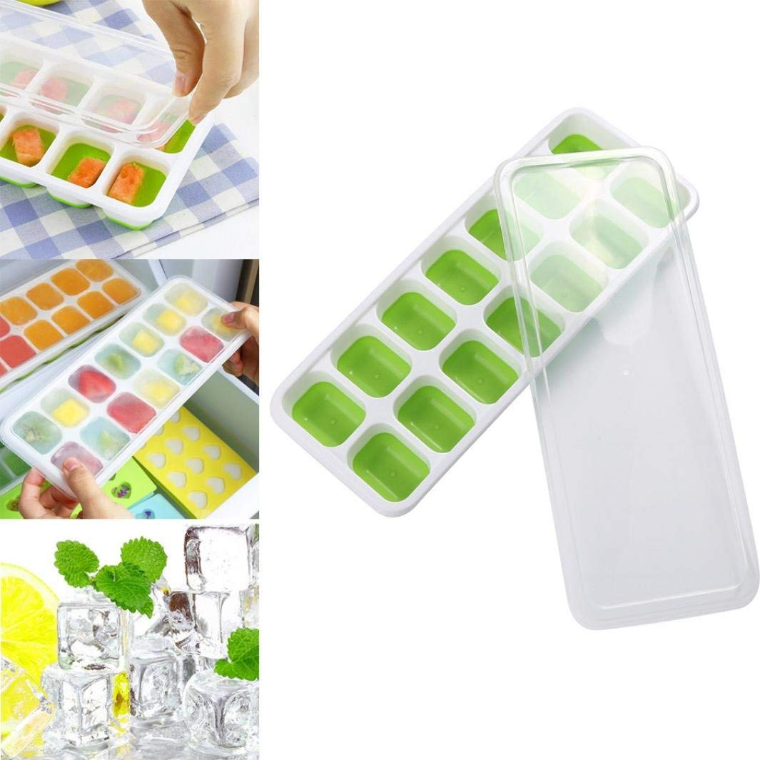 Silicone Ice Cube Moulds Trays - Vibola Ice Cube Tray Set With 14 Ice Cubes Molds Flexible Rubber Plastic (green)
