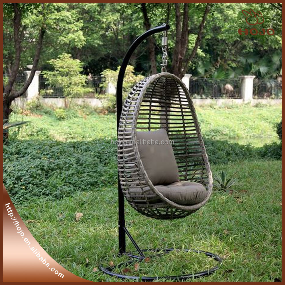 Cheap price outdoor patio rattan wicker hanging egg swing chair with metal stand