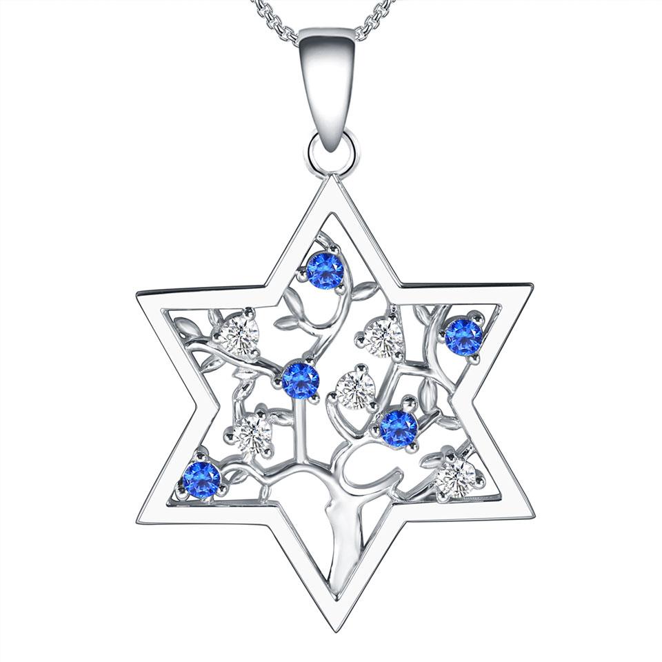 Étoile de David Charme juive Magen Zircone cubique Pave Collier Pendentif en argent sterling 925