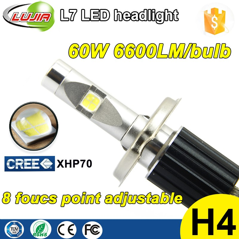 6000K 4300K led work light L7 6600lm H4 led bulb kit headlight xhp70 6v d1s d2s,d1r,d2r,d1c,d2c