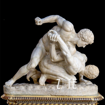Custom white stone figure statue marble wrestling men sculpture