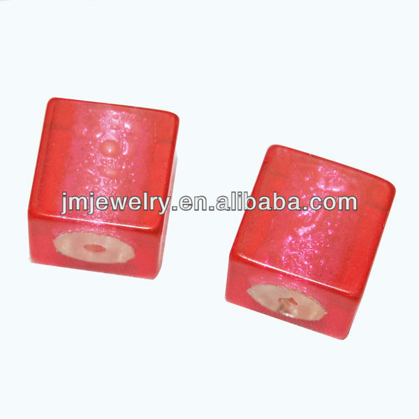 plastic clear red cube beads for diy bracelet necklace jewelry making