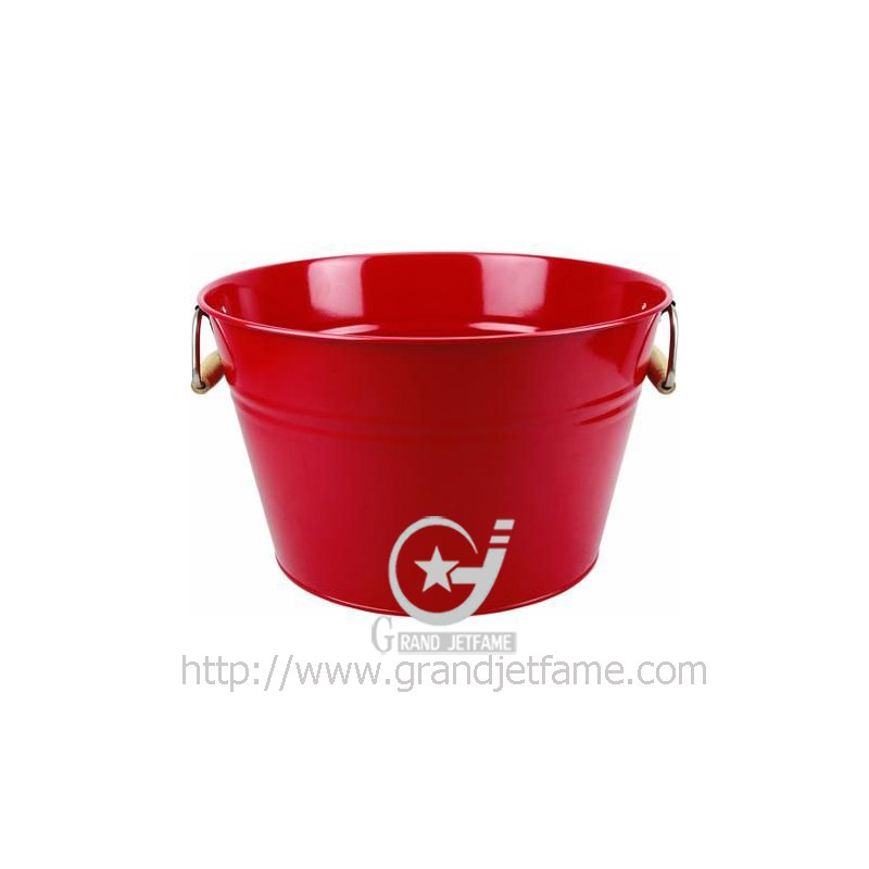 Color Metal tubs with wood handles