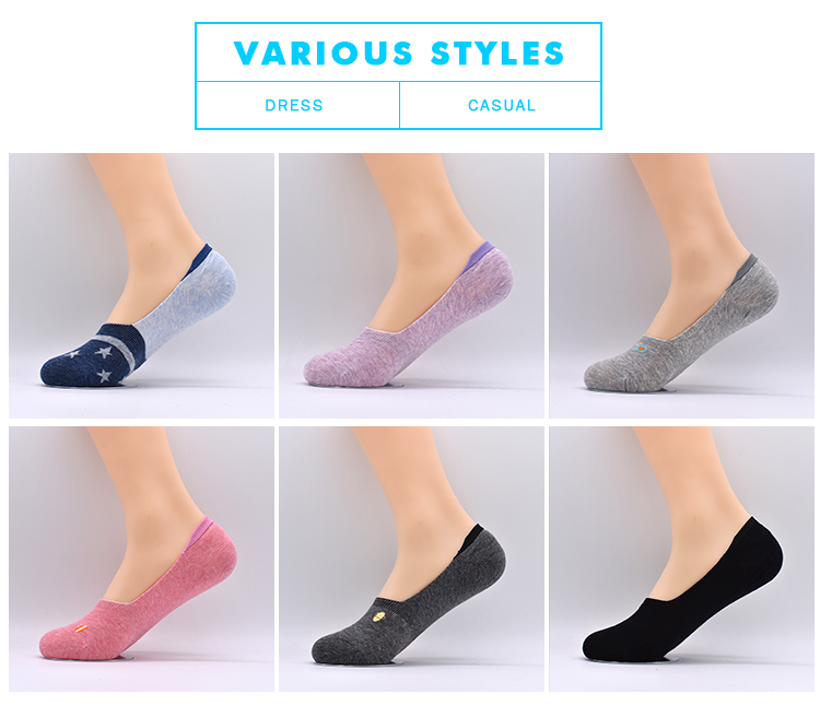 Manufacturer Wholesale Custom Cotton Printed Women Loafer Dress No Show Cute Non Slip Invisible Socks