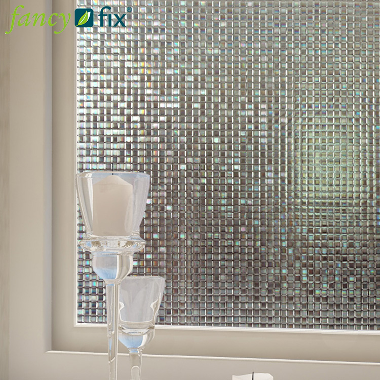 Factory Direct Sale 3D Non Self-adhesive Static Cling Window Film Diamond Mosaic Decorative Window Glass Film For Home