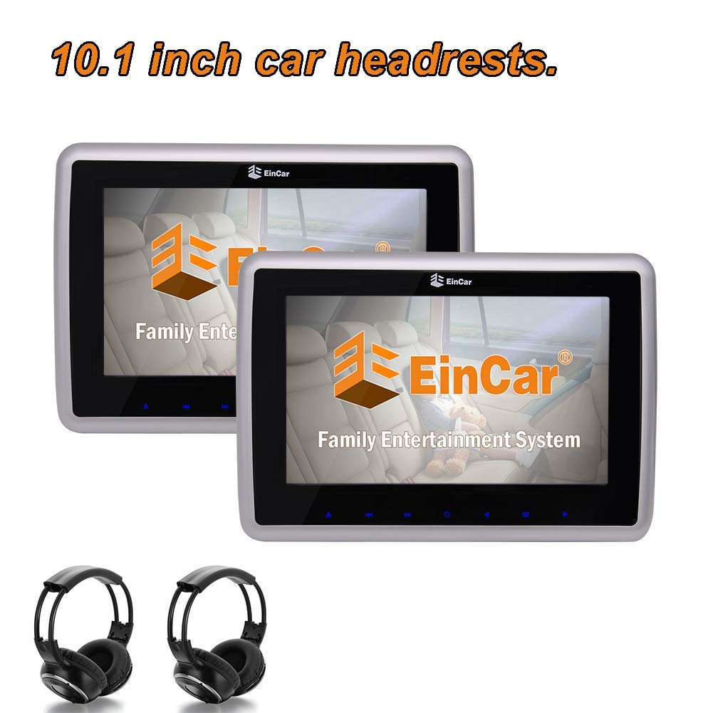 EinCar 10.1 inch Black Car Headrest Monitors with DVD Player/USB/HDMI+Games Dual Screen Tablet-Style Car Entertainment System Built-in IR/FM/Speaker/Earphone Jack with Remote Control