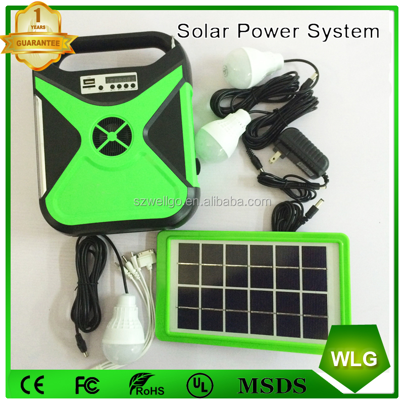 2017 home Solar lighting kit Stepless adjusted LED light system with Bluetooth Speaker Radio mobile phone charger TF Card Slot