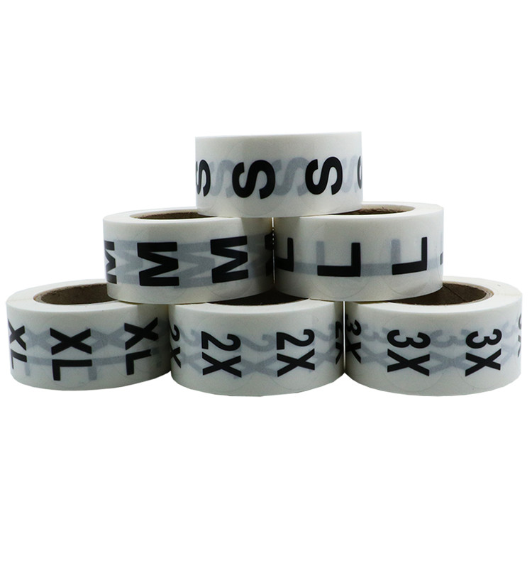 "Hybsk 1"" Clear Round Clothing Size Stickers Adhesive Labels For Retail Apparel S M L XL 2X 3X Total 6 Rolls 500pcs/roll"