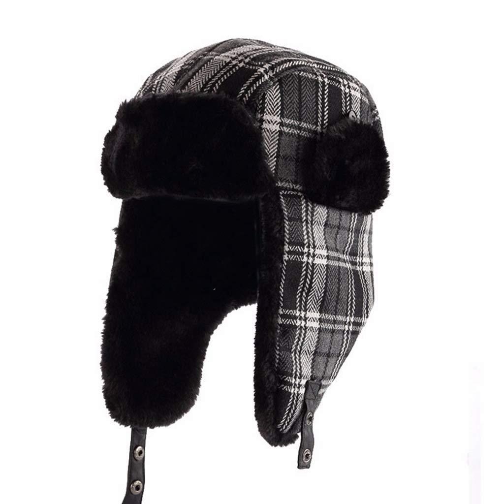 Winter Trooper Hat Unisex Plaid Winter Bomber Hat Women Men's Hats with Ear Flaps, Fleece Lined Warm Bomber Cap Black Navy