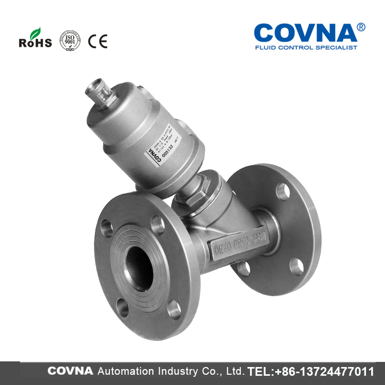 Y- type Ss316 Dn50 Flange Pneumatic Control Stainless Steel Y Angle Seat Valve