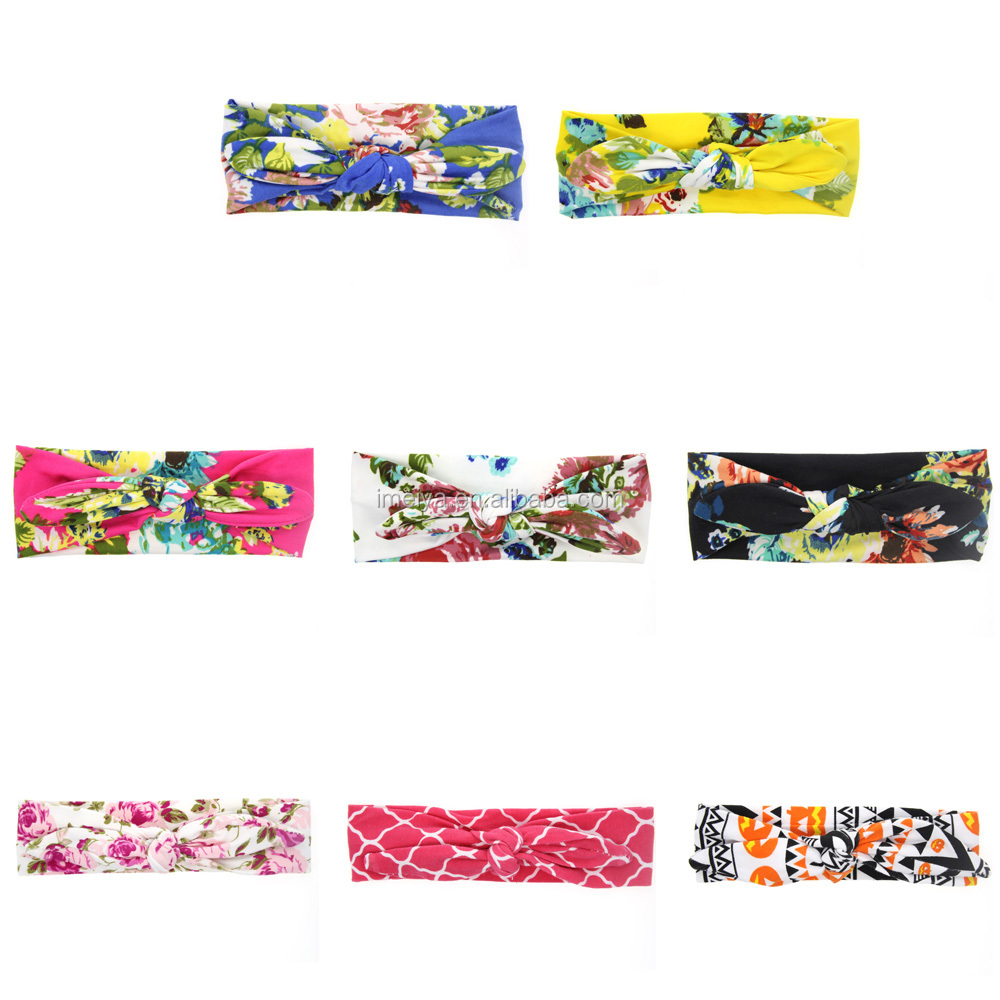 New Baby Floral Printed Top Knot Headband for Girl Hair Fashion Flower Baby Turban Headband Girl Cotton Headwrap Accessories