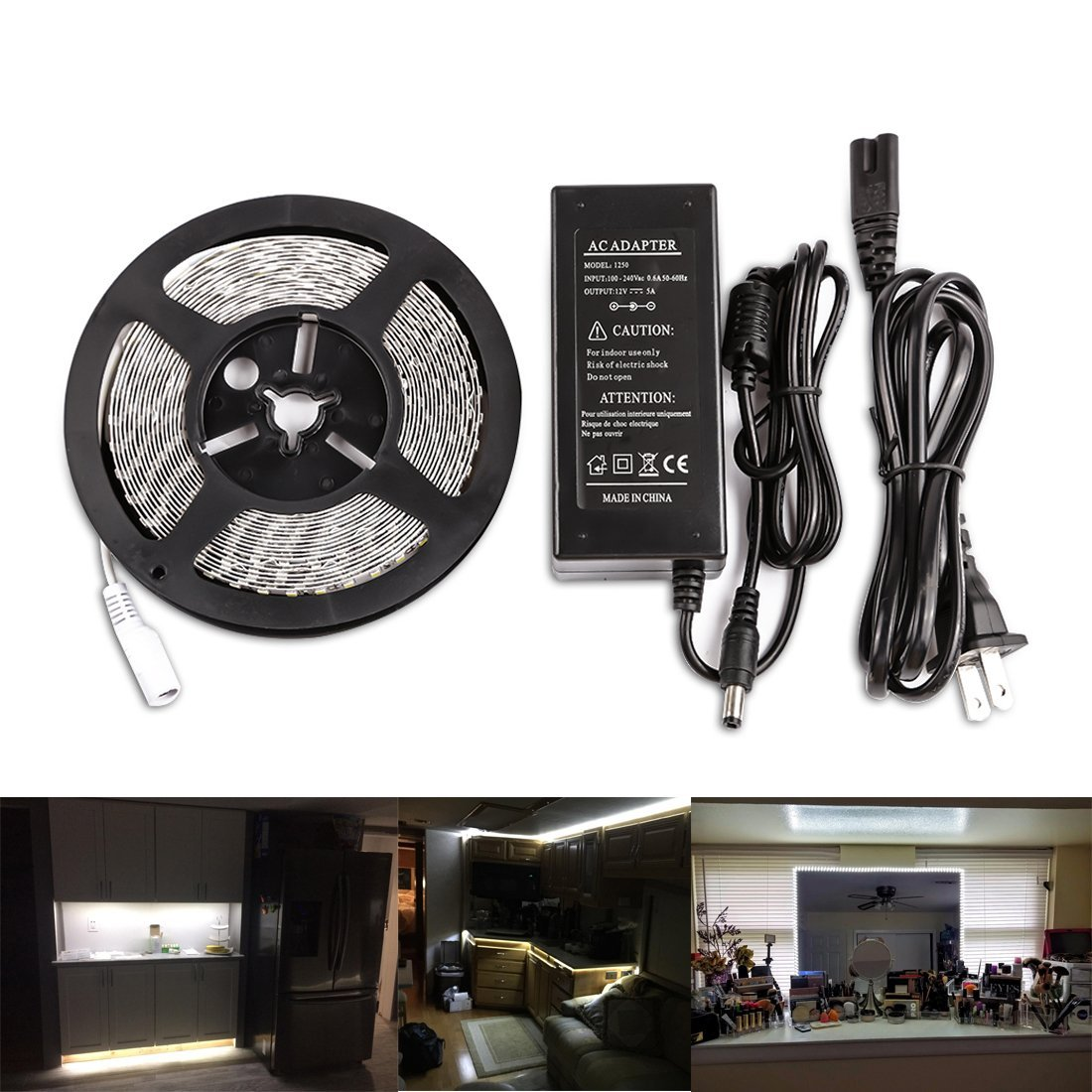 LEDMO Flexibel LED Strip Light, Non-Waterproof IP20, Daylight White 6000K, DC12V LED Light Strip+ 12V 5A Adapter