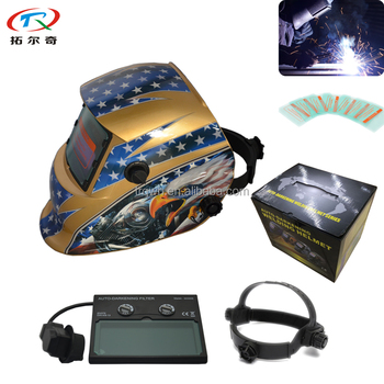 Gold Yellow Engine Eagle ANSI Z87.1 Welding Helmet Solder Mascara