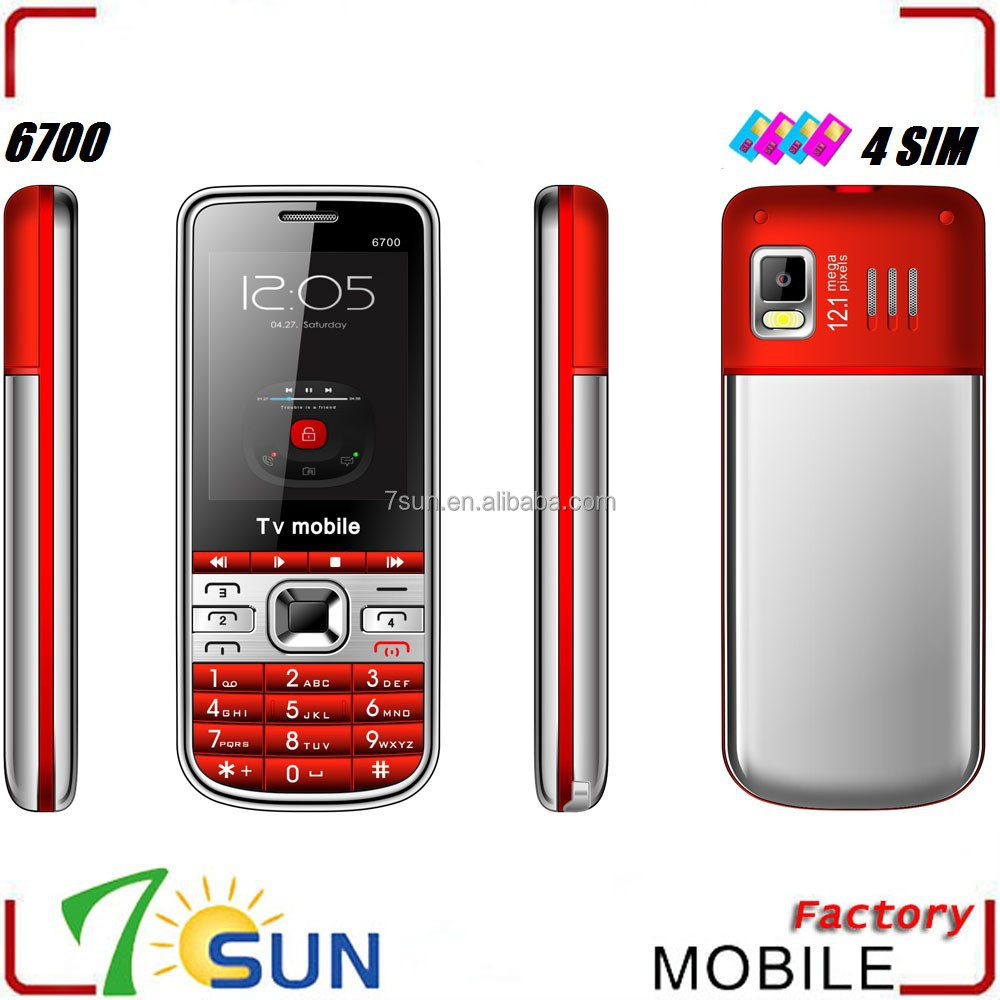 6700 dual cpu 4 sim card mobile phone