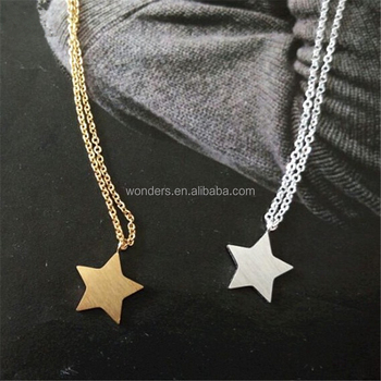 Dainty Gold Silver Star Charm Pentagram Pendant Necklace Women Stainless Steel Fashion Jewelry Daily Wear Accessories