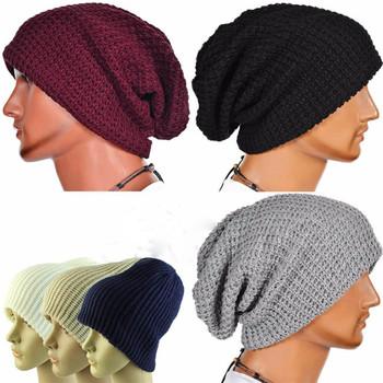00b82bd9689a8 Winter Casual Cotton Knit Hats For Women Men Baggy Beanie Hat Crochet Slouchy  Oversized Ski Cap