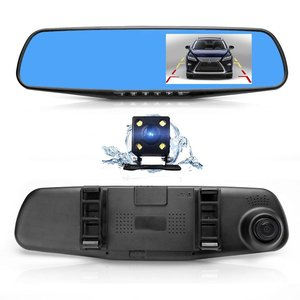 CE certification 4.3 Inch Car Black Box Dual Lens Video Recorder Dash Cam Rearview Mirror Car Camera 1080P HD