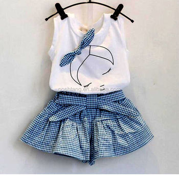 wholesale New design sweet baby girls clothing sets white top sleeveless shhirt plaid skirt with bowknot