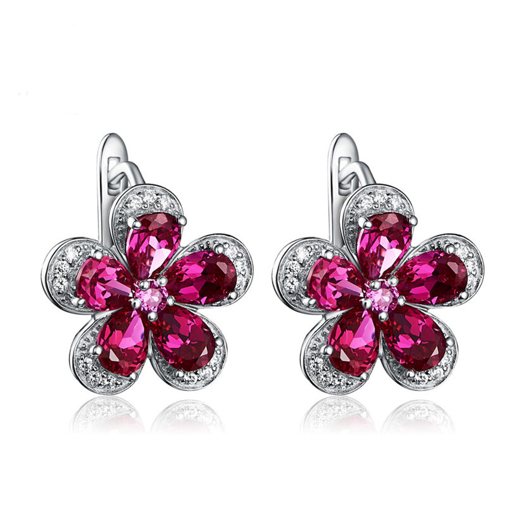 Joacii Plum Blossom Design Ruby Stone Zirconia S925 Silver Clip-on Earrings