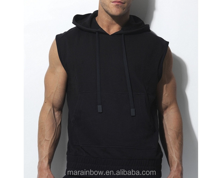 2015 Mens Cotton Blank Sleeveless Gym Hoodie Black Plain Custom ...