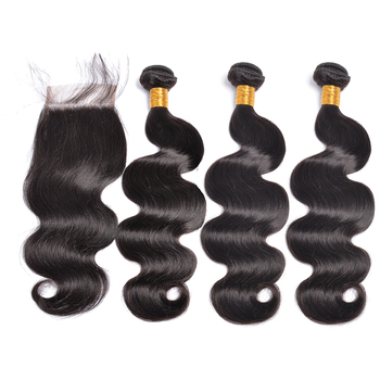 Large stock raw hair indian hair 4Pcs 14inch closure 16 18 20inch wefts Body Wave Cheap Human Hair With Closure