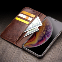 2018 QIALINO Luxury Genuine Leather Cell phone Flip Business Wallet Slots Case Cover For iPhone X Xr Xs Max