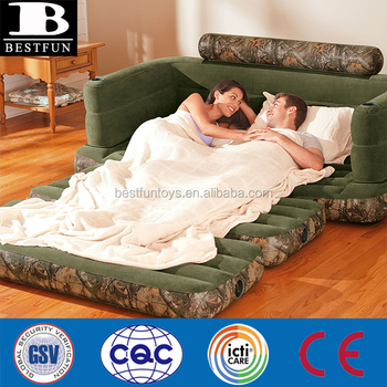 Custom Cool Suede Luxury Flocking Inflatable Camo Queen Size Pull Out Sofa  Bed Air Mattress 2 In 1 Sofa Couch   Buy Pull Out Sofa Bed,Folding Couch ...