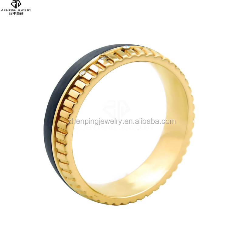 Designer latest gold stainless steel carbon fiber wedding ring with CZ rhinestones