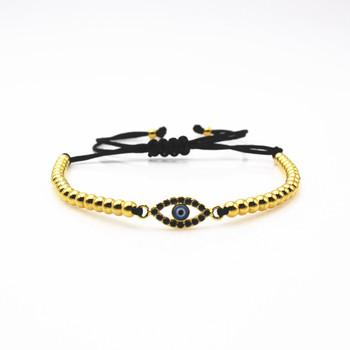 ea0577620444 CZ encanto del ojo malvado pulsera de los hombres joyería de macramé 4mm  perlas de cobre